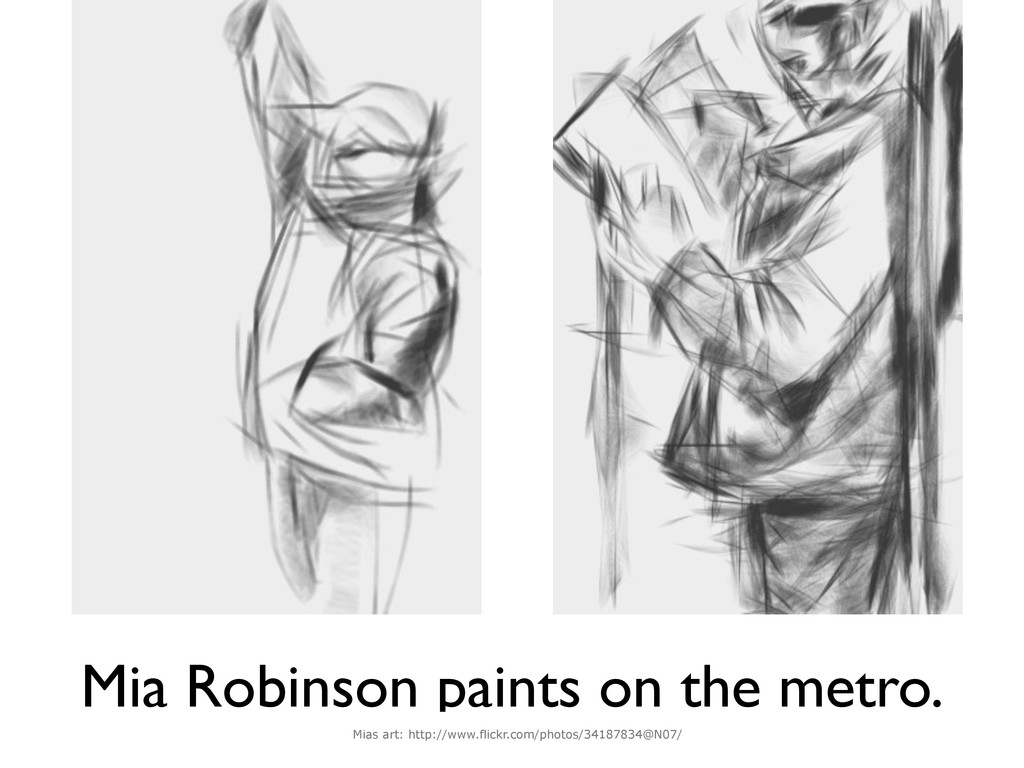Mia Robinson paints on the metro. Mias art: htt...
