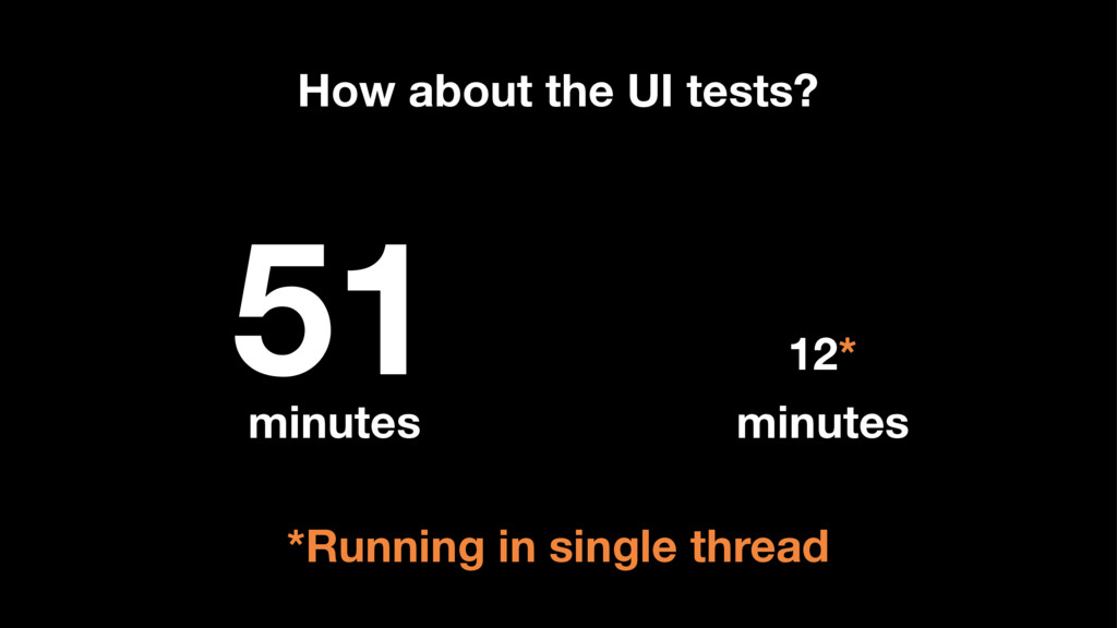 51 minutes 12* minutes How about the UI tests? ...