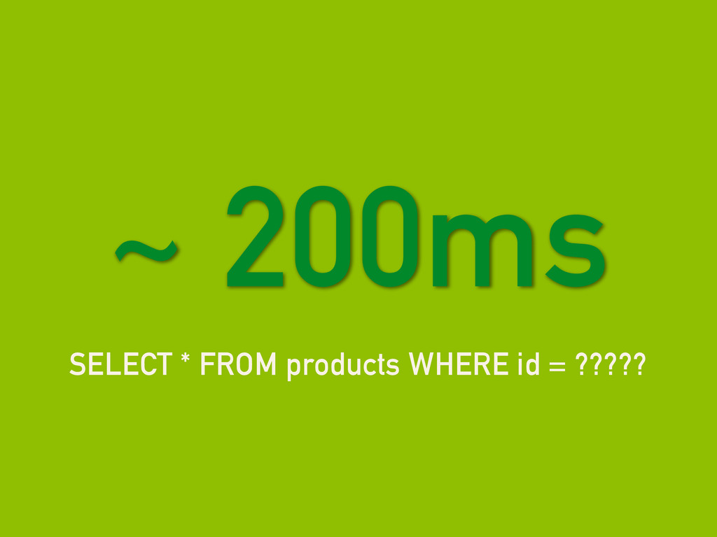 SELECT * FROM products WHERE id = ????? ~ 200ms