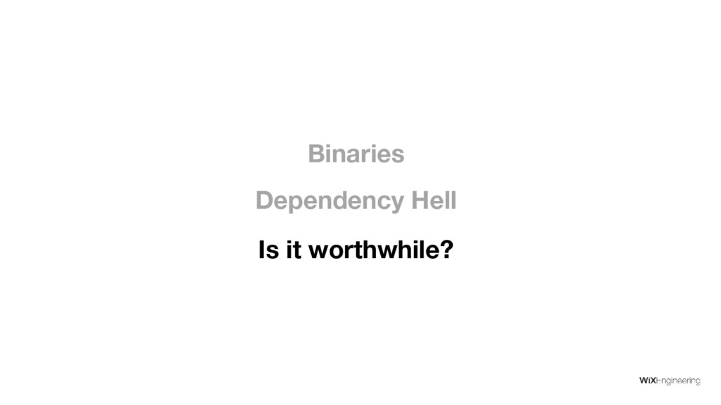 Is it worthwhile? Dependency Hell Binaries