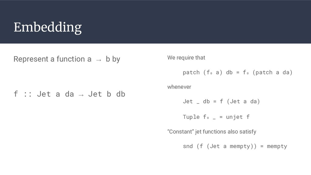 Embedding We require that patch (f₀ a) db = f₀ ...