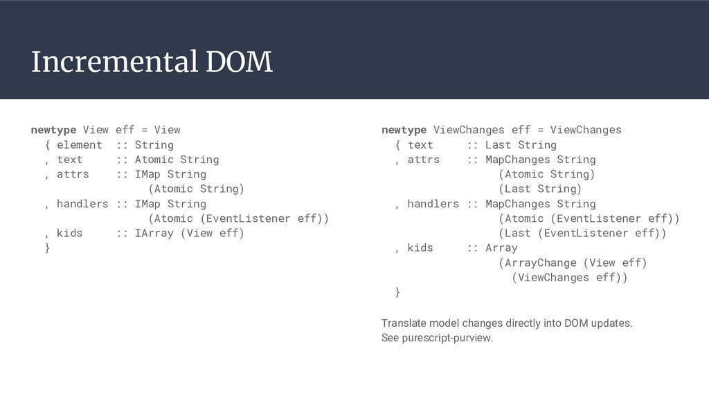 Incremental DOM newtype ViewChanges eff = ViewC...