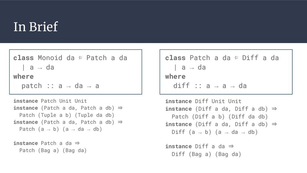 In Brief class Patch a da ⇐ Diff a da | a → da ...