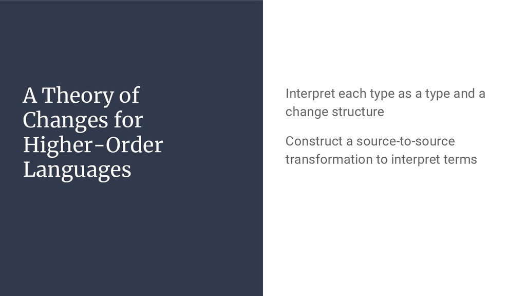 A Theory of Changes for Higher-Order Languages ...