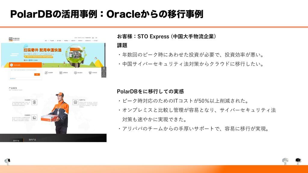 1PMBS%#ͷ׆༻ྫɿ0SBDMF͔ΒͷҠߦྫ お客様:STO Express (中国⼤...