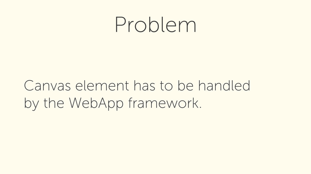 Canvas element has to be handled by the WebApp...