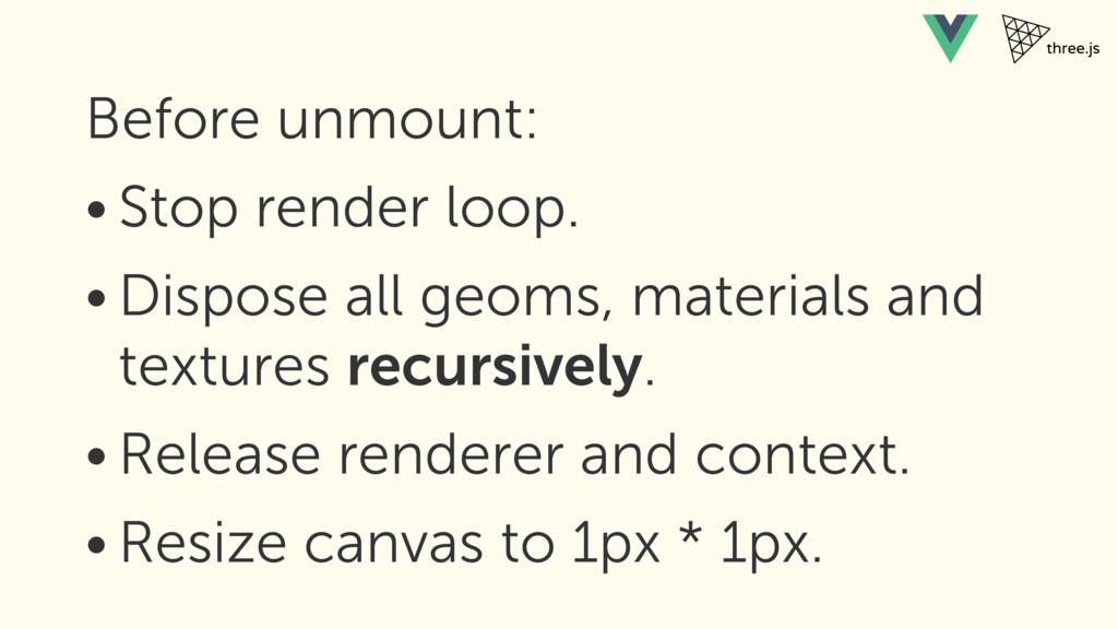 Before unmount: • Stop render loop. • Dispose a...