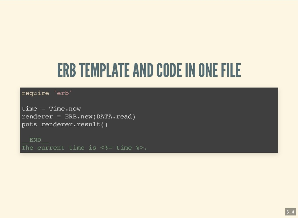 ERB TEMPLATE AND CODE IN ONE FILE ERB TEMPLATE ...