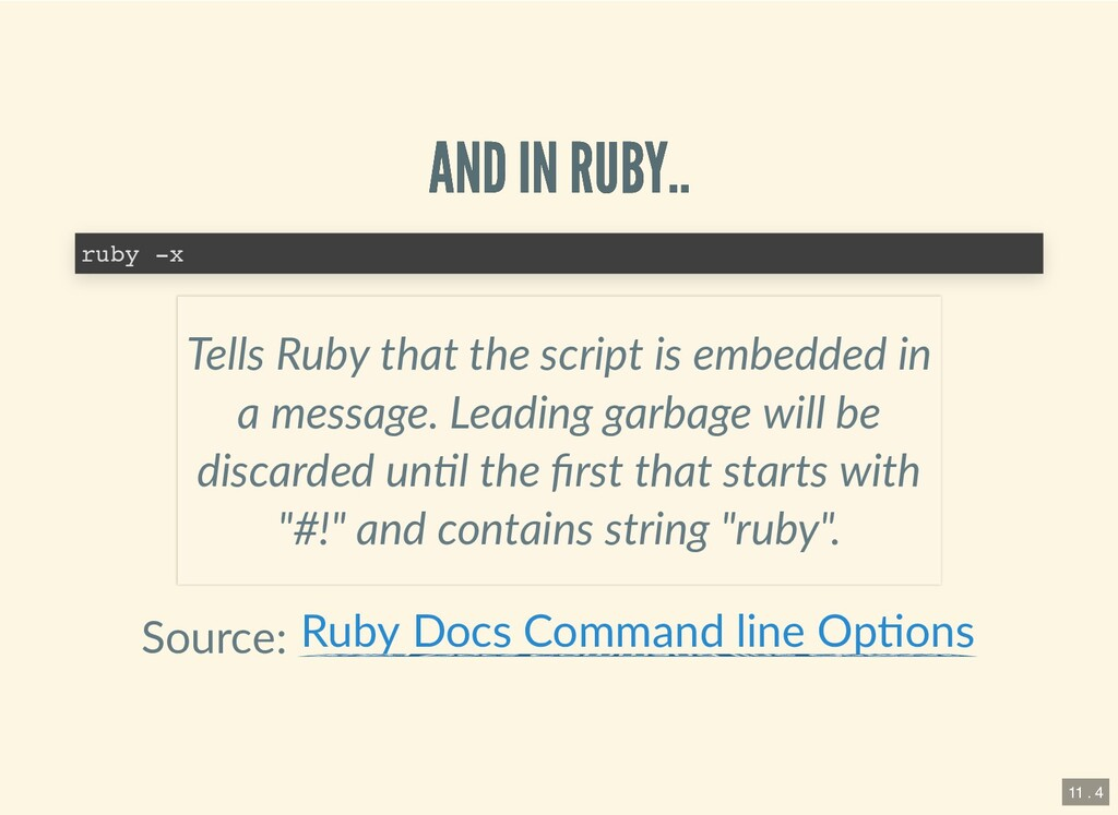 AND IN RUBY.. AND IN RUBY.. Source: ruby -x Tel...