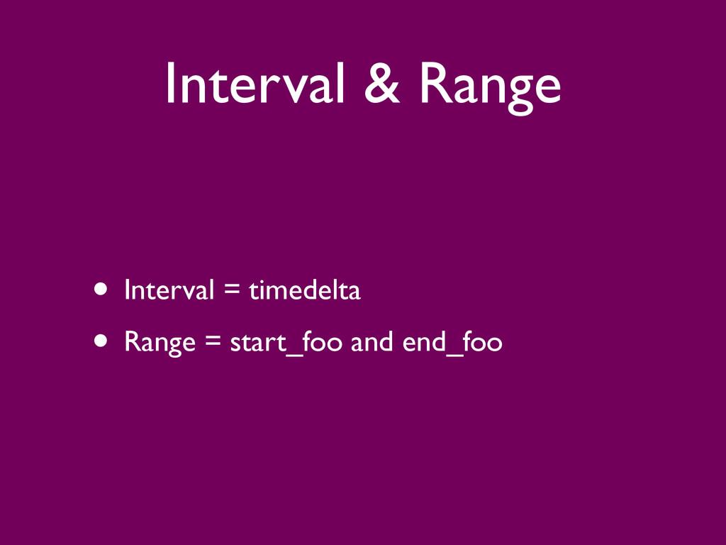 Interval & Range • Interval = timedelta  • Ra...