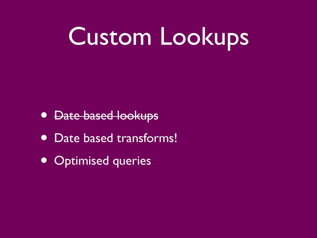Custom Lookups • Date based lookups  • Date b...