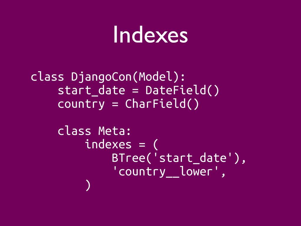 Indexes class DjangoCon(Model): start_date = Da...