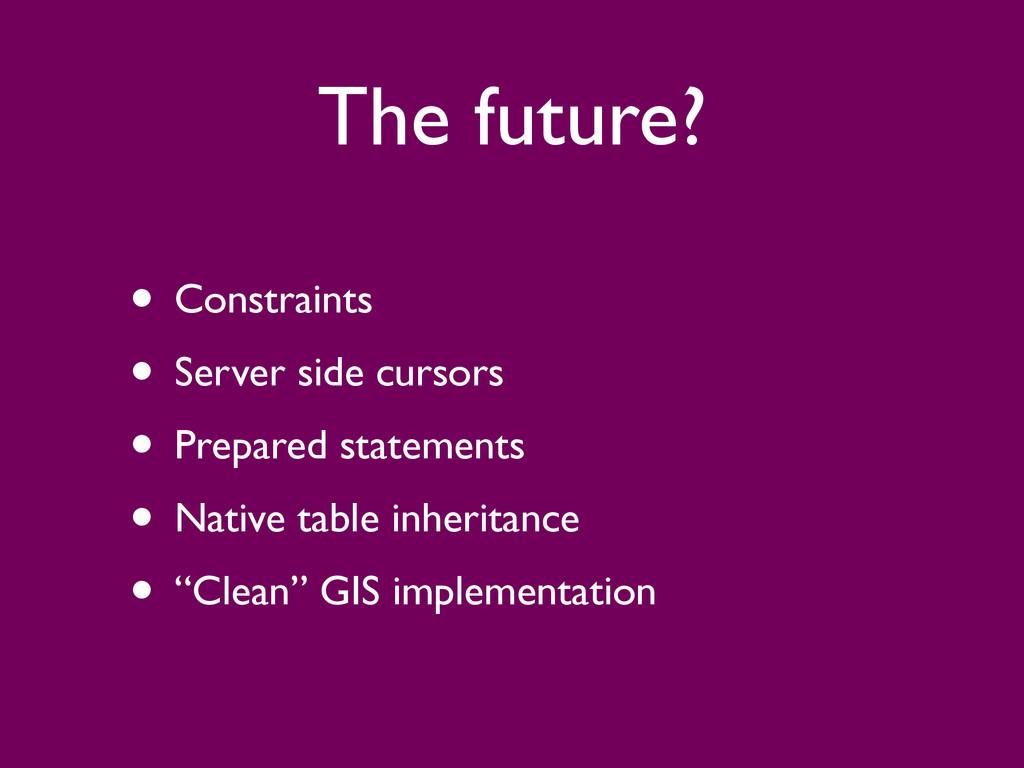 The future? • Constraints  • Server side curs...