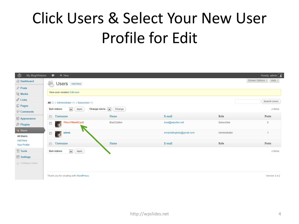 Click Users & Select Your New User Profile for ...