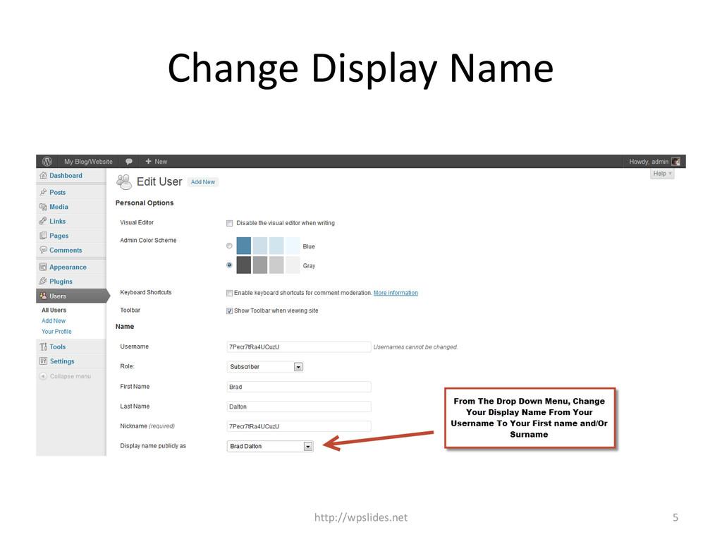 Change Display Name http://wpslides.net 5