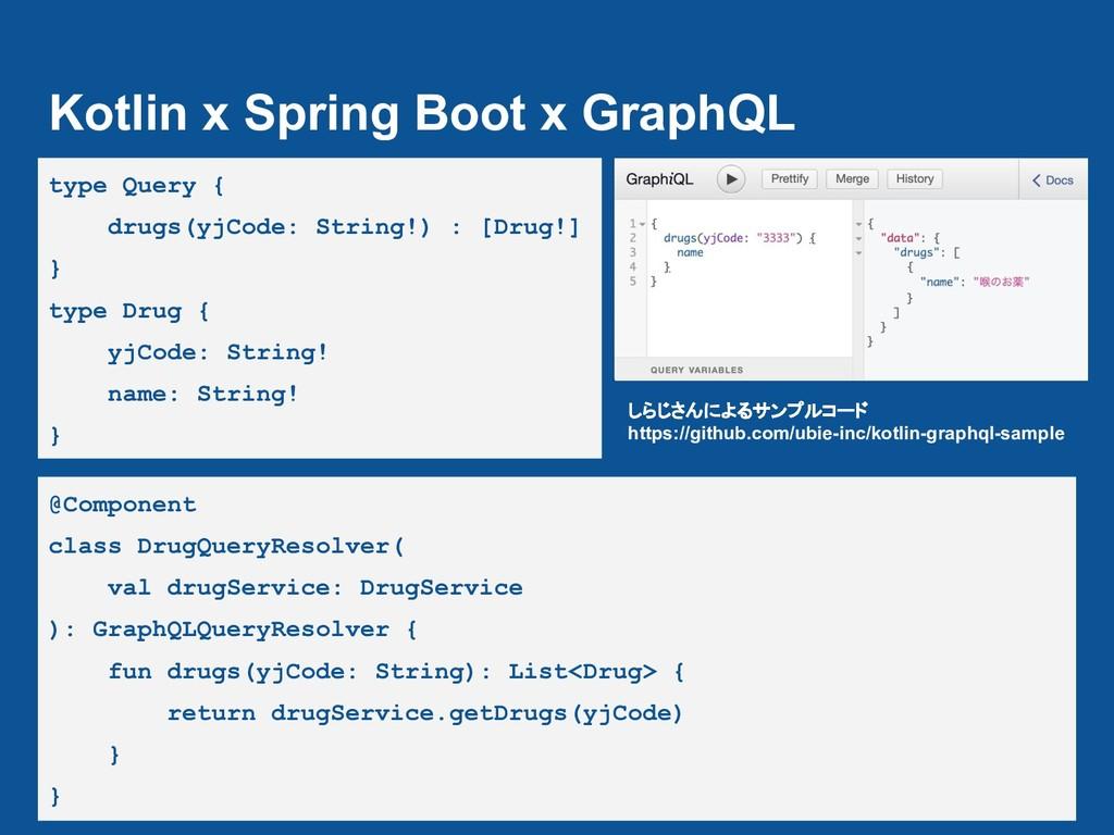 Kotlin x Spring Boot x GraphQL type Query { dru...