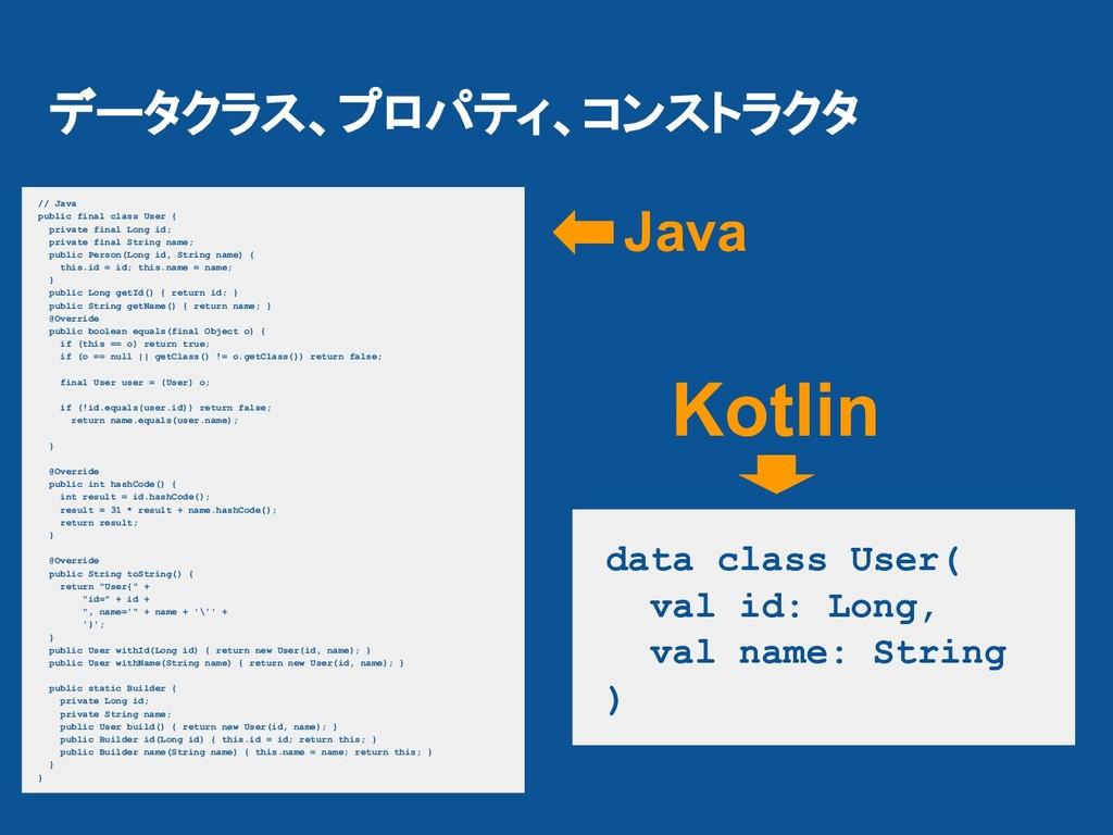 データクラス、プロパティ、コンストラクタ // Java public final class...