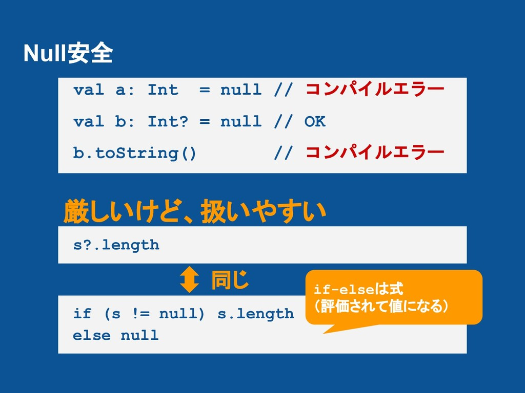 Null安全 val a: Int = null // コンパイルエラー val b: Int...