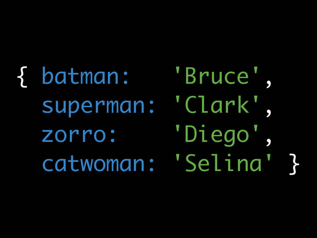 { batman: 'Bruce', superman: 'Clark', zorro: 'D...