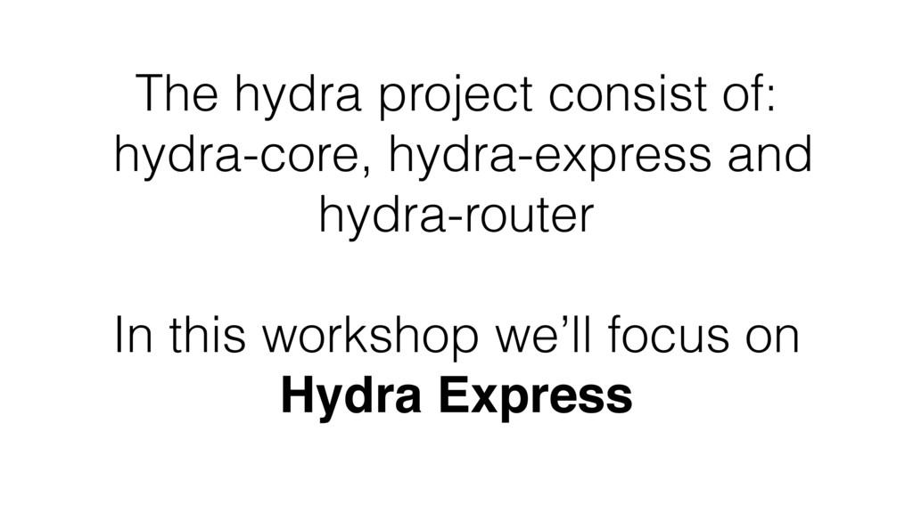 The hydra project consist of: hydra-core, hydra...