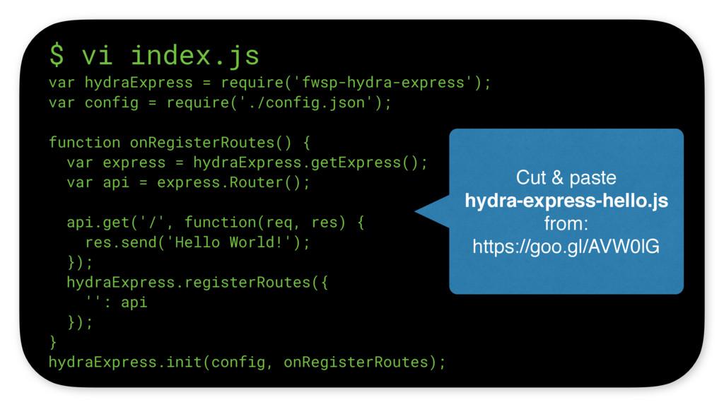 $ vi index.js var hydraExpress = require('fwsp-...