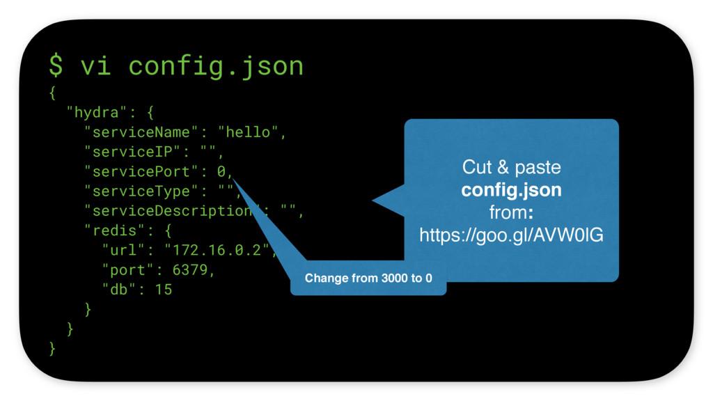 "$ vi config.json { ""hydra"": { ""serviceName"": ""h..."