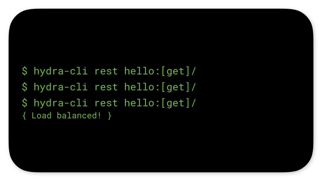 $ hydra-cli rest hello:[get]/ $ hydra-cli rest ...