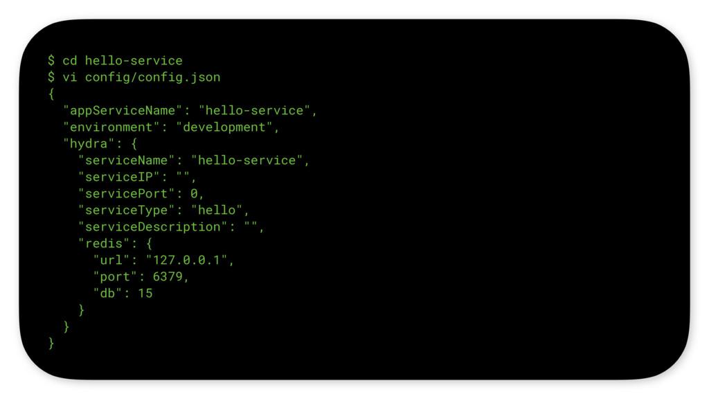 """$ cd hello-service $ vi config/config.json { """"a..."""