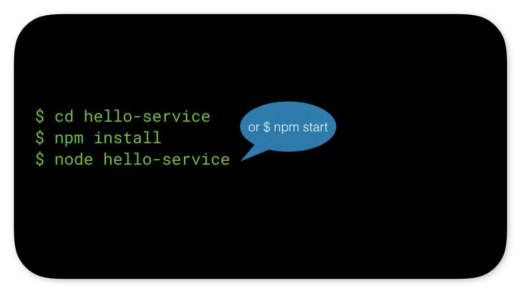 $ cd hello-service $ npm install $ node hello-s...