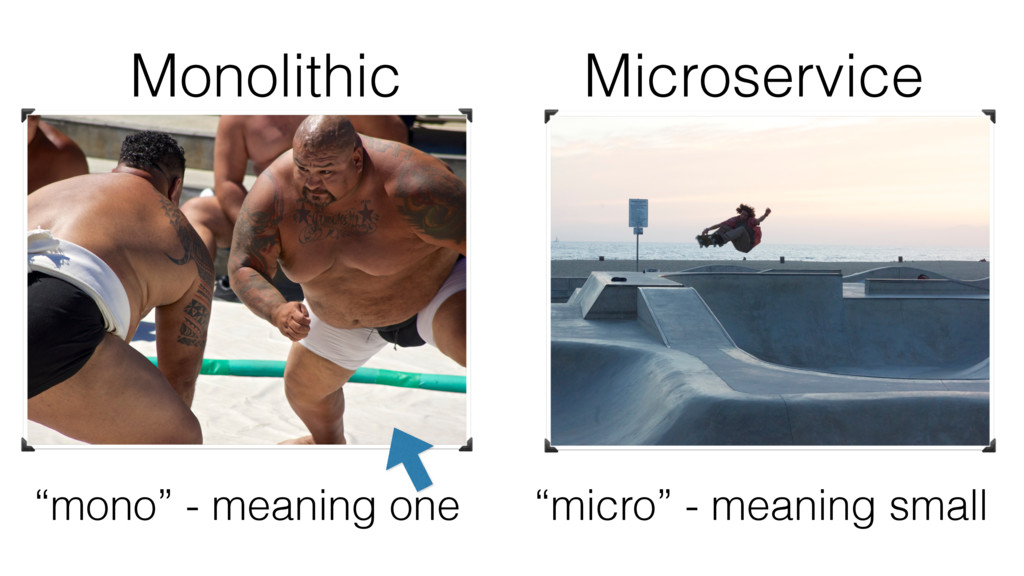 """Monolithic Microservice """"mono"""" - meaning one """"m..."""