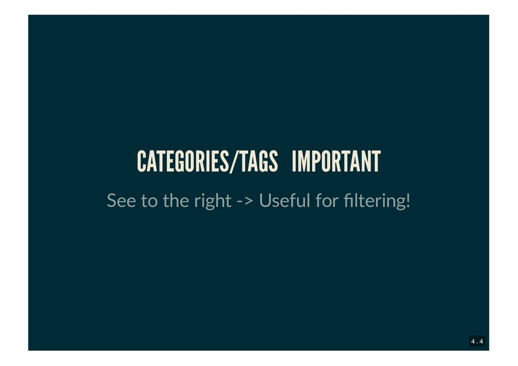 CATEGORIES/TAGS CATEGORIES/TAGS IMPORTANT IMPOR...