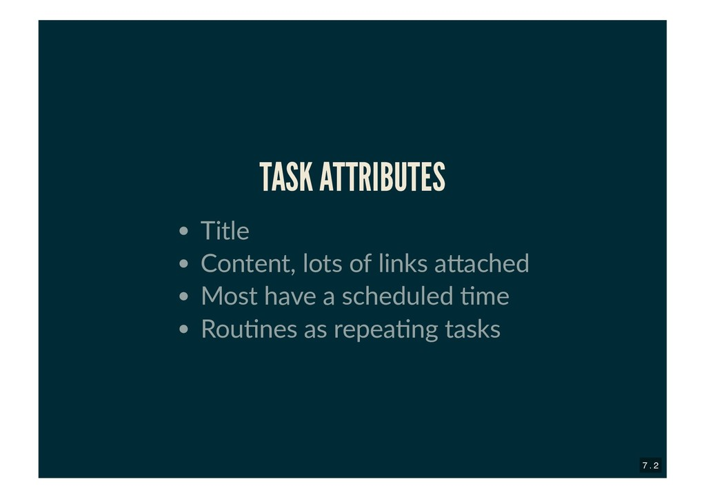 TASK ATTRIBUTES TASK ATTRIBUTES Title Content, ...
