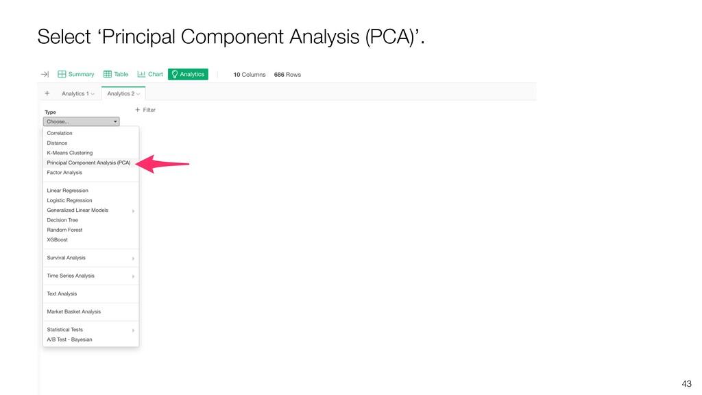 43 Select 'Principal Component Analysis (PCA)'.