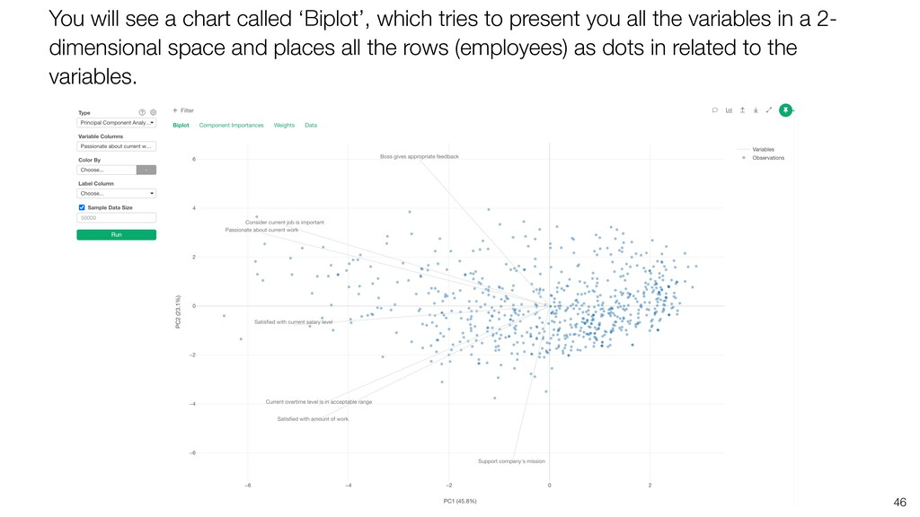 46 You will see a chart called 'Biplot', which ...