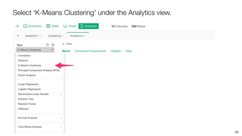 69 Select 'K-Means Clustering' under the Analyt...