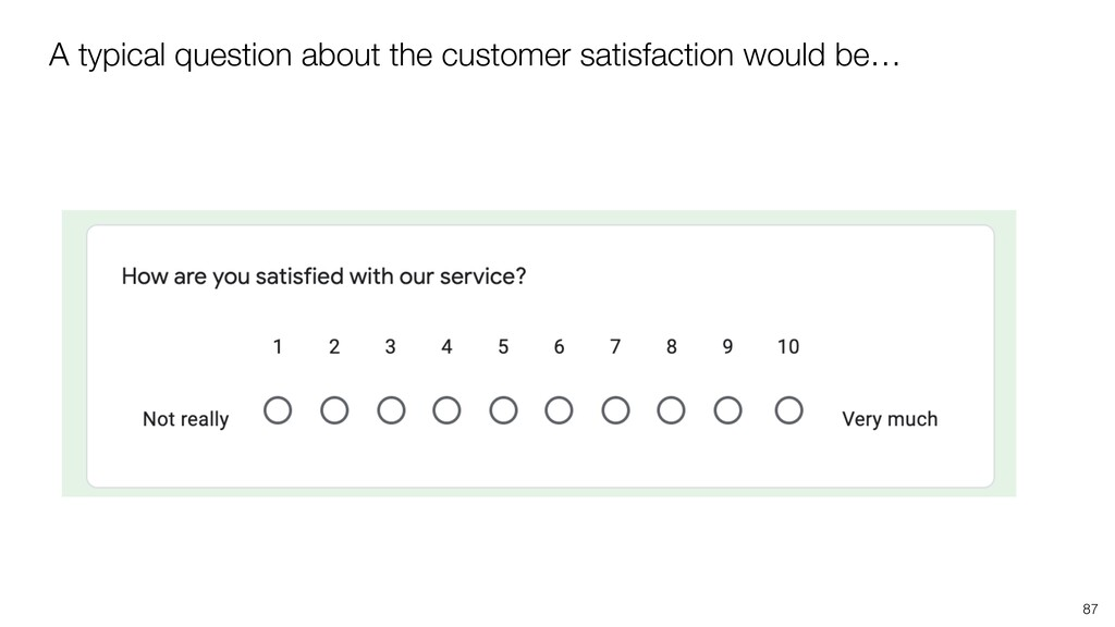 A typical question about the customer satisfact...