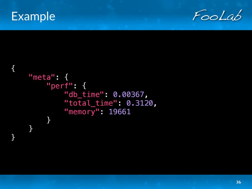 "Example { ""meta"": { ""perf"": { ""db_time"": 0.0036..."