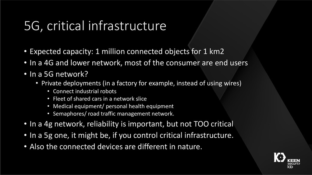 5G, critical infrastructure • Expected capacity...