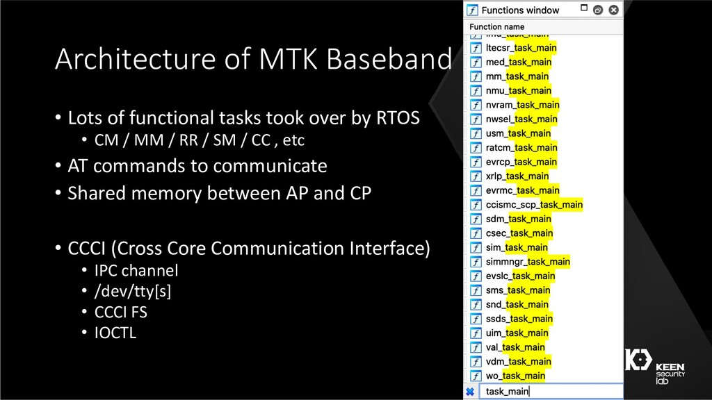 Architecture of MTK Baseband • Lots of function...