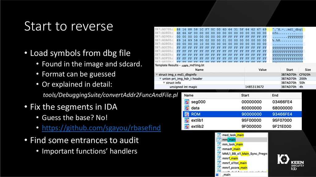 Start to reverse • Load symbols from dbg file •...