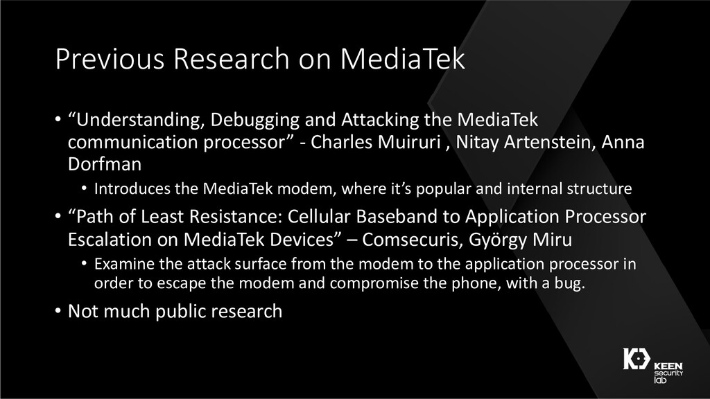 "Previous Research on MediaTek • ""Understanding,..."