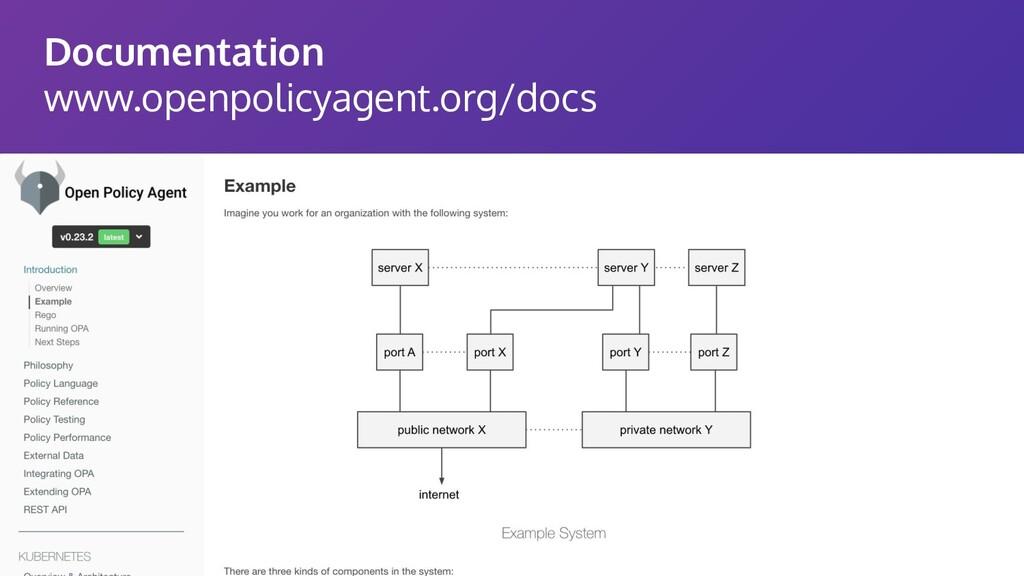 Documentation www.openpolicyagent.org/docs