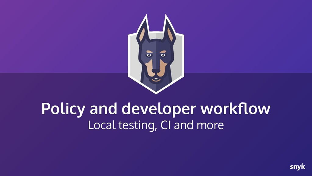 Policy and developer workflow Local testing, CI ...