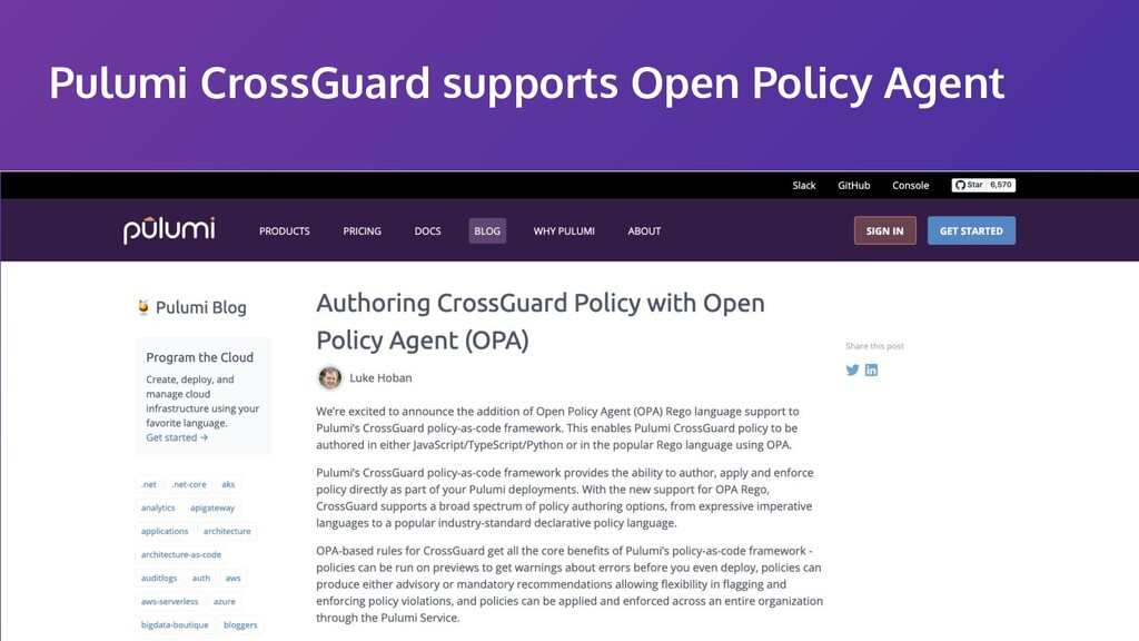 Pulumi CrossGuard supports Open Policy Agent