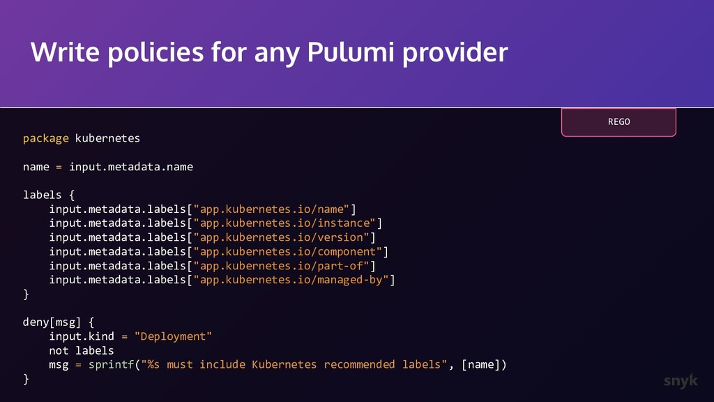 Write policies for any Pulumi provider package ...