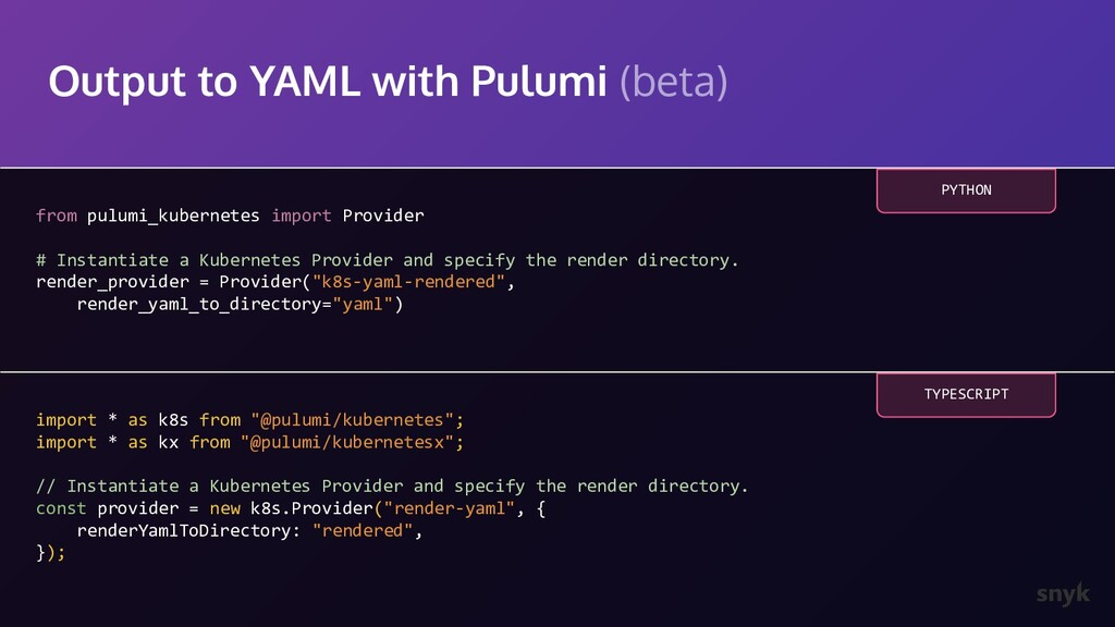 Output to YAML with Pulumi (beta) from pulumi_k...