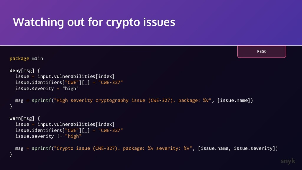 Watching out for crypto issues package main den...
