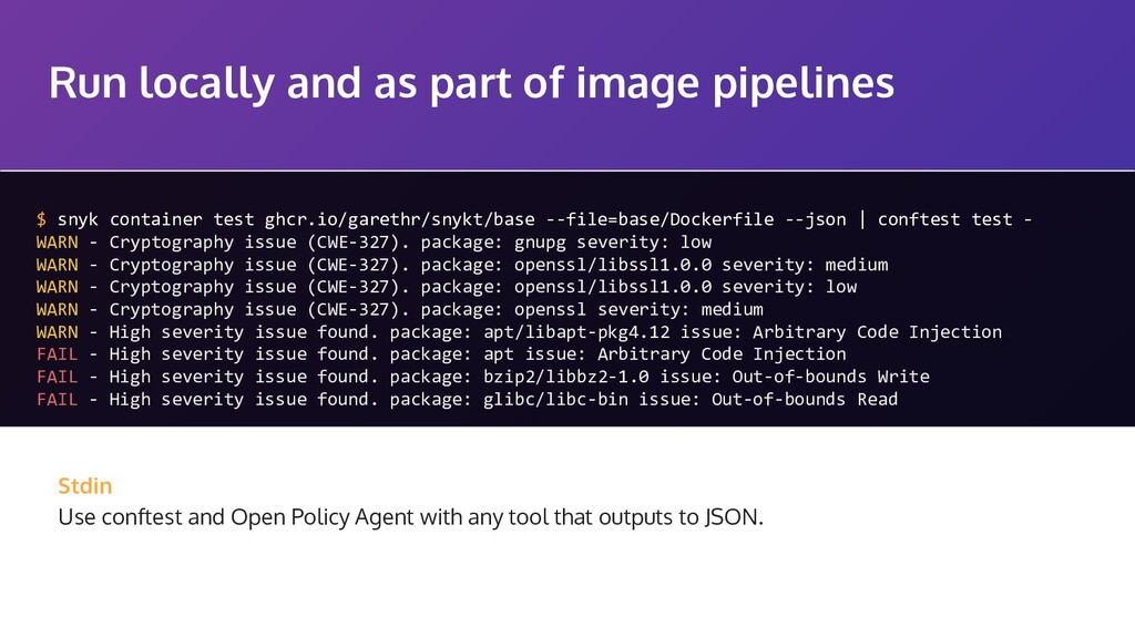 Run locally and as part of image pipelines $ sn...