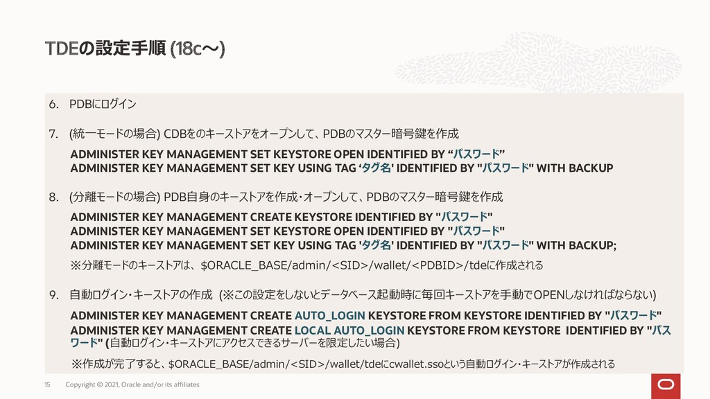 TDEの設定手順 (18c~) Copyright © 2021, Oracle and/or...