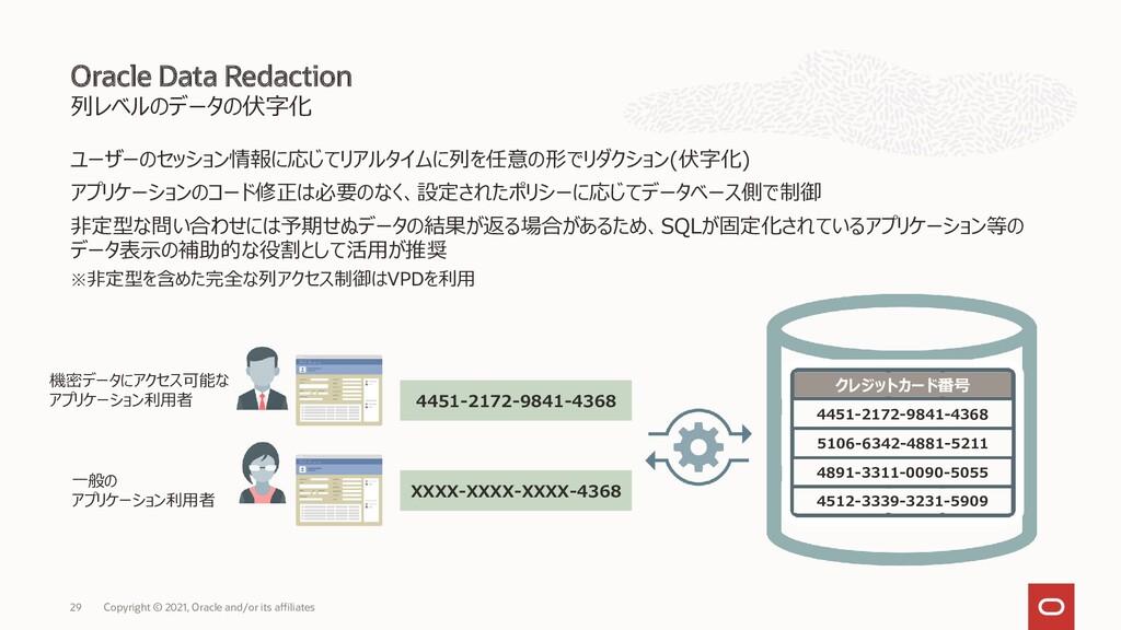 列レベルのデータの伏字化 ユーザーのセッション情報に応じてリアルタイムに列を任意の形でリダクシ...